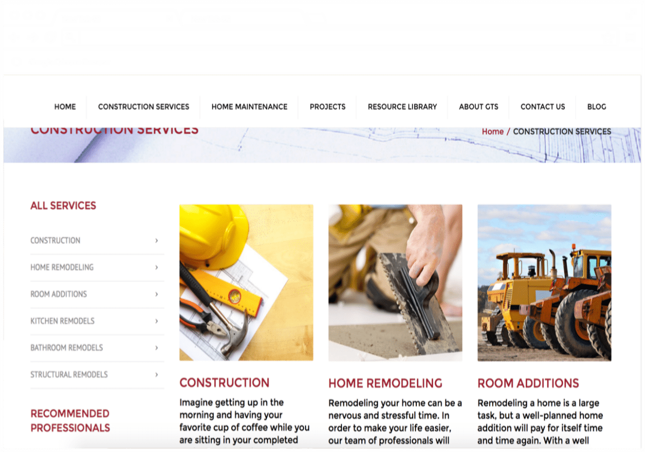 Make Your Mark Web Design GTS Construction Services picture
